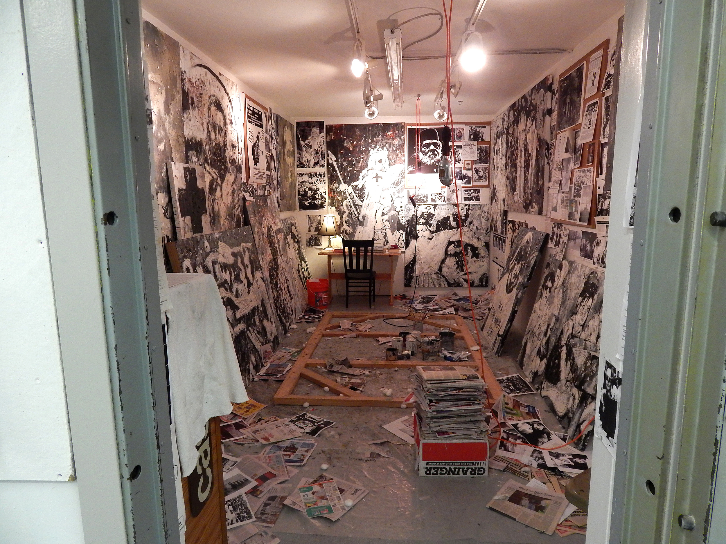 "A Painter for Our Time (recreated studio of the late Calvin Williams) , installation by Adam Turl in the ""Safe Space,"" Lewis Center, Sam Fox School of Art/Washington University in St. Louis, 2014"