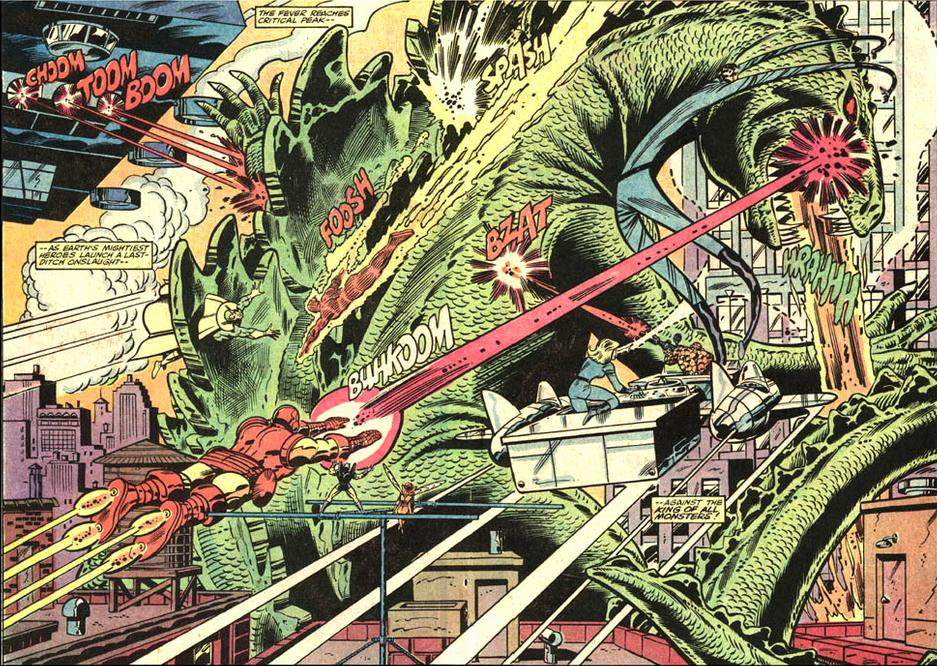 Marvel's  original Godzilla series from the 1970s culminated in an epic battle with the Avengers. The series held the title of the longest running Godzilla comic book series until it was recently eclipsed by IDW's  Godzilla Rulers of Earth  series.