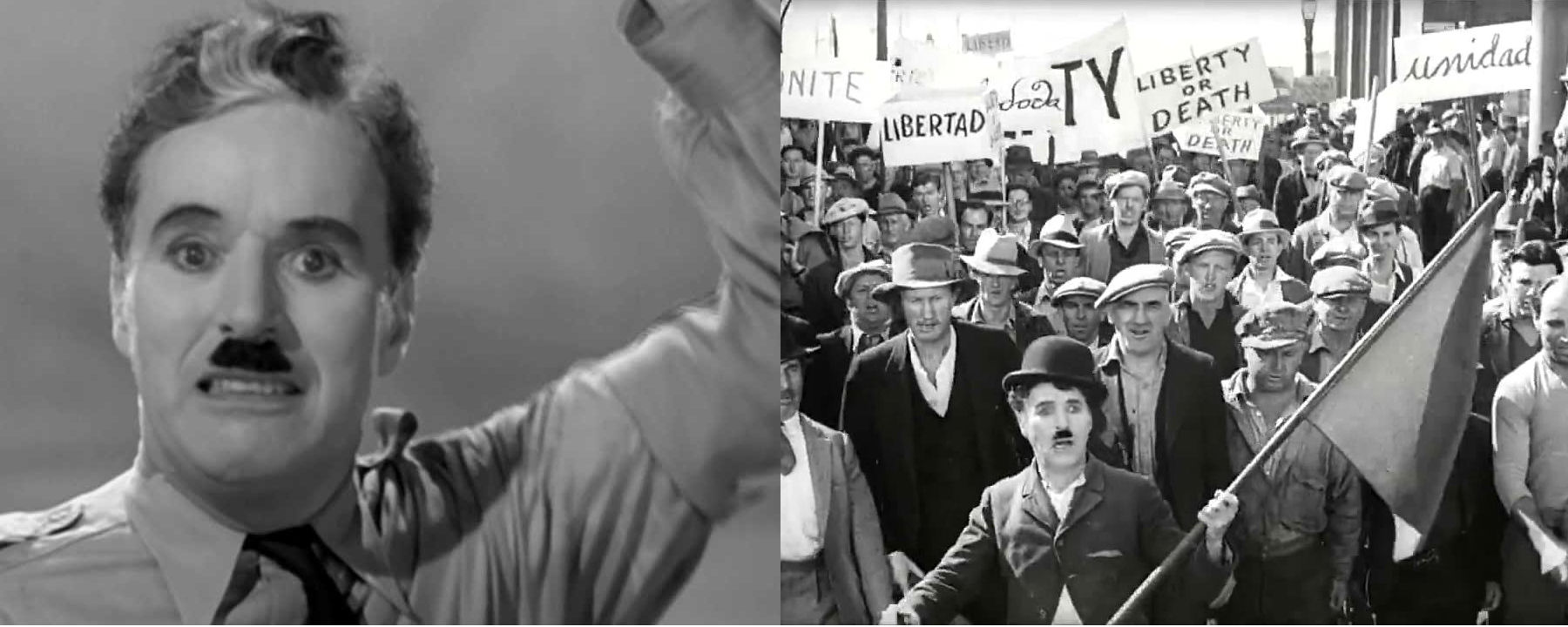 Left: Charlie Chaplin in The Great Dictator, Right: Chaplin in Modern Times