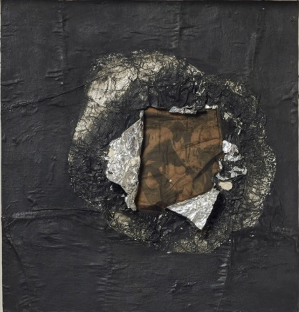 Jack Whitten,Birmingham 1964, 1964 Aluminum foil, newsprint, stocking, and oil on plywood 6 5/8 x 16 inches