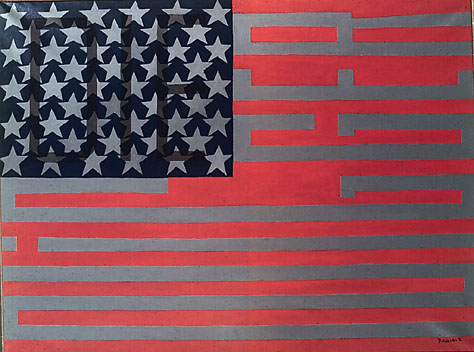 Faith Ringgold,Flag for the Moon: Die Nigger, from the series Black Light #10, 1969,Oil on canvas,6 x 50 inches