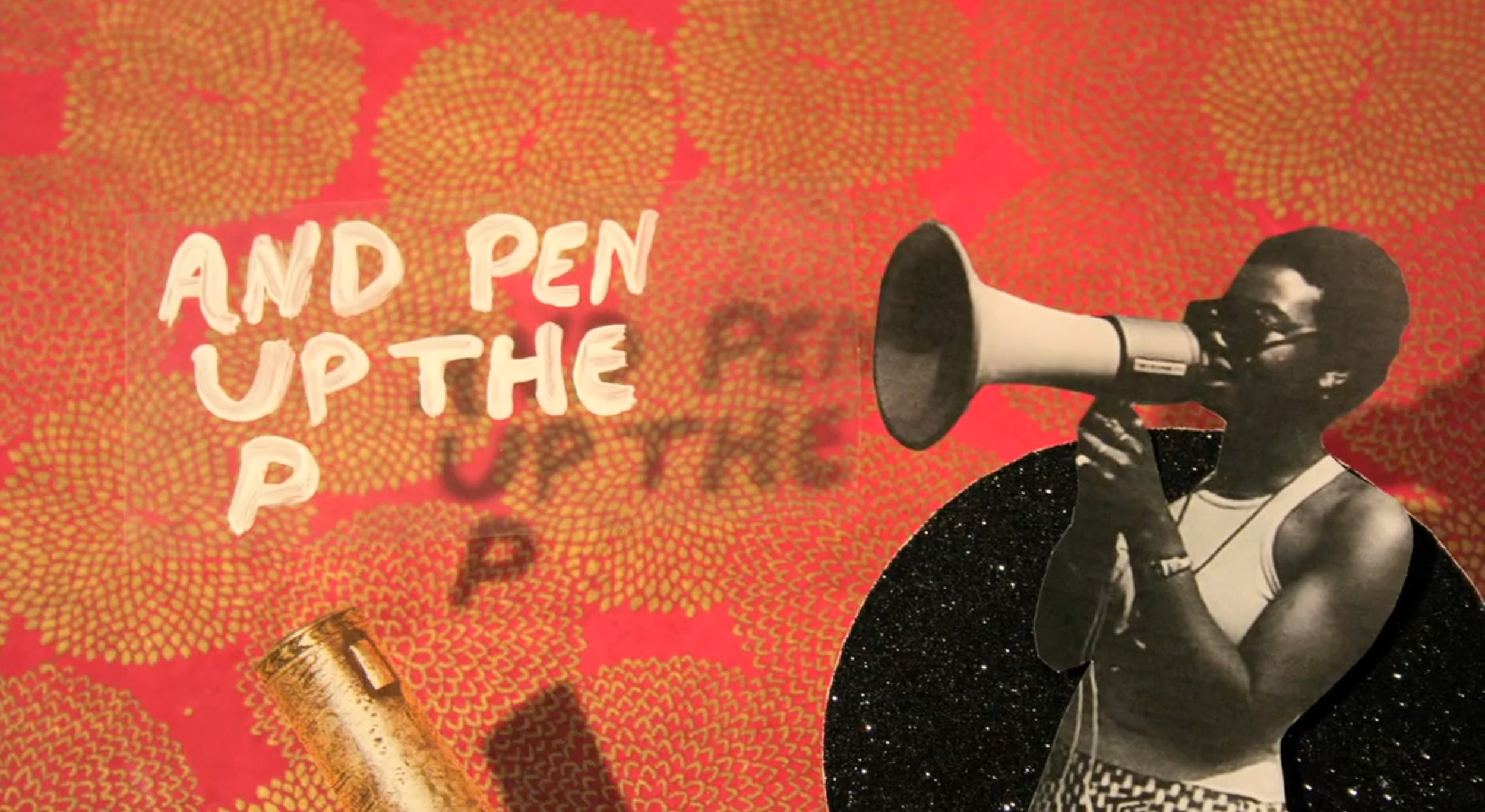 """Kelly Gallagher, """"Pen Up the Pigs,"""" still, video (2014)"""