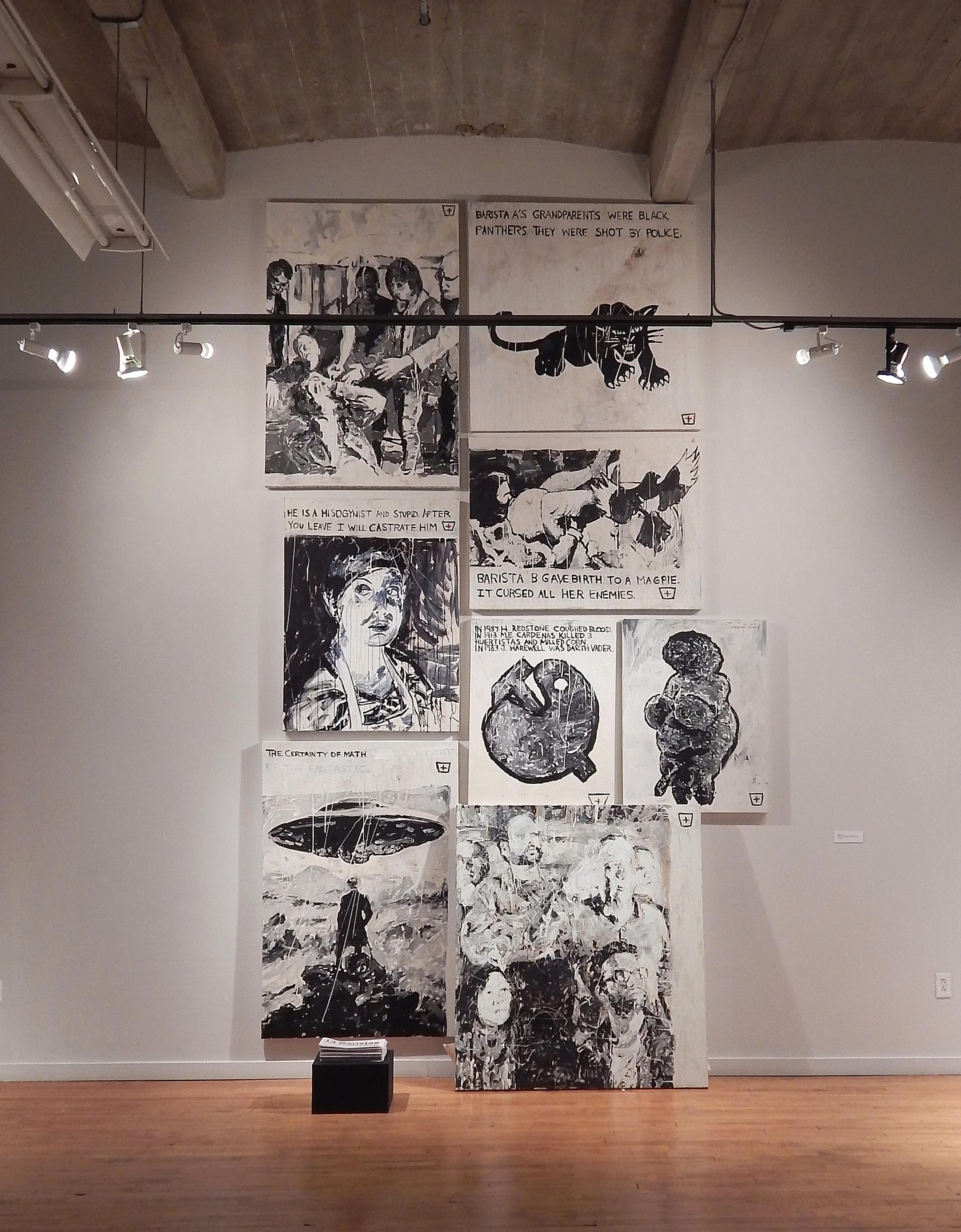"""Adam Turl, """"13 Baristas Art Collective (Salon Version),"""" Des Lee Gallery (2015)"""