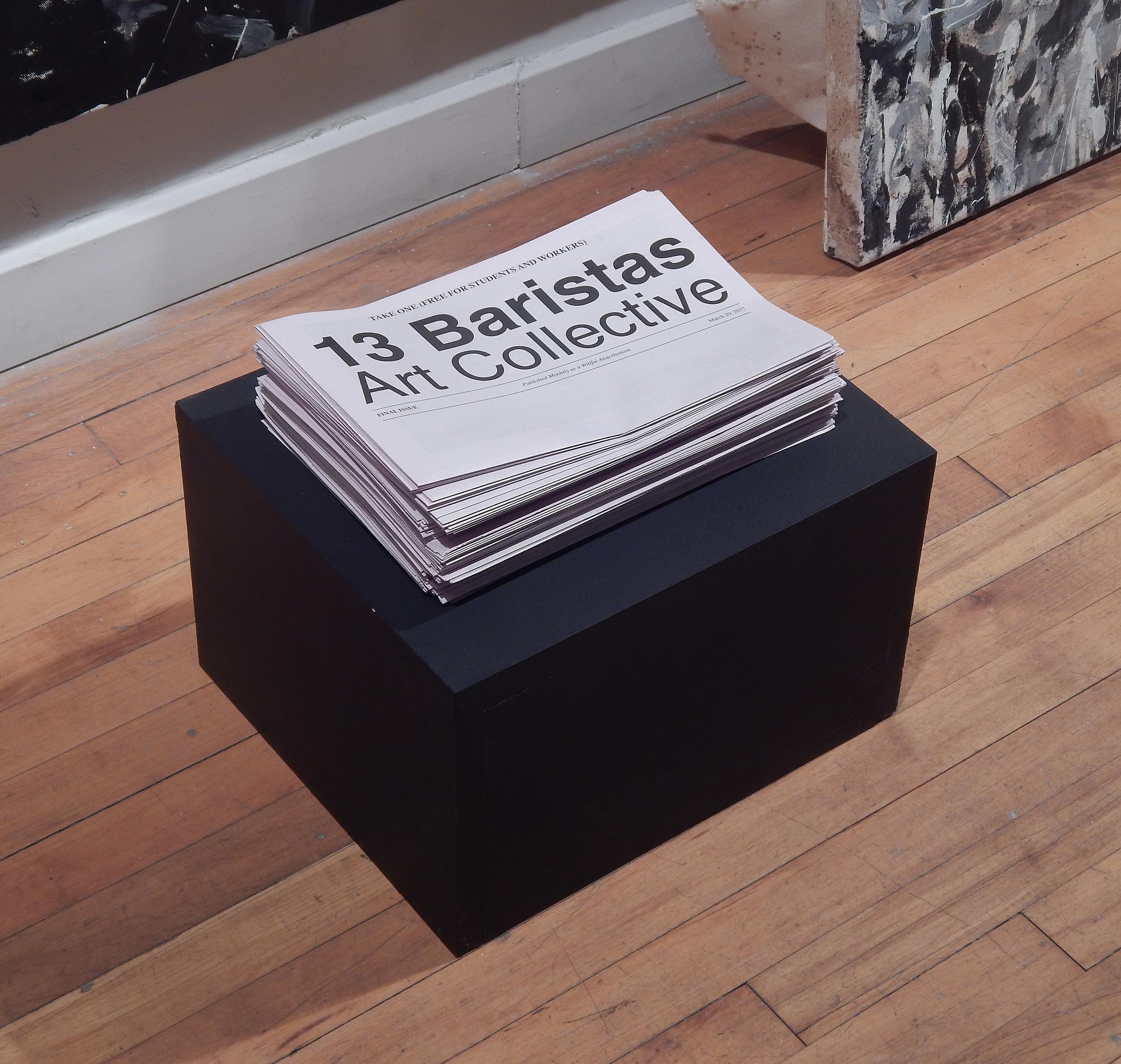 "Adam Turl. ""13 Baristas Art Collective (Salon Version),"" installation detail (2015)"