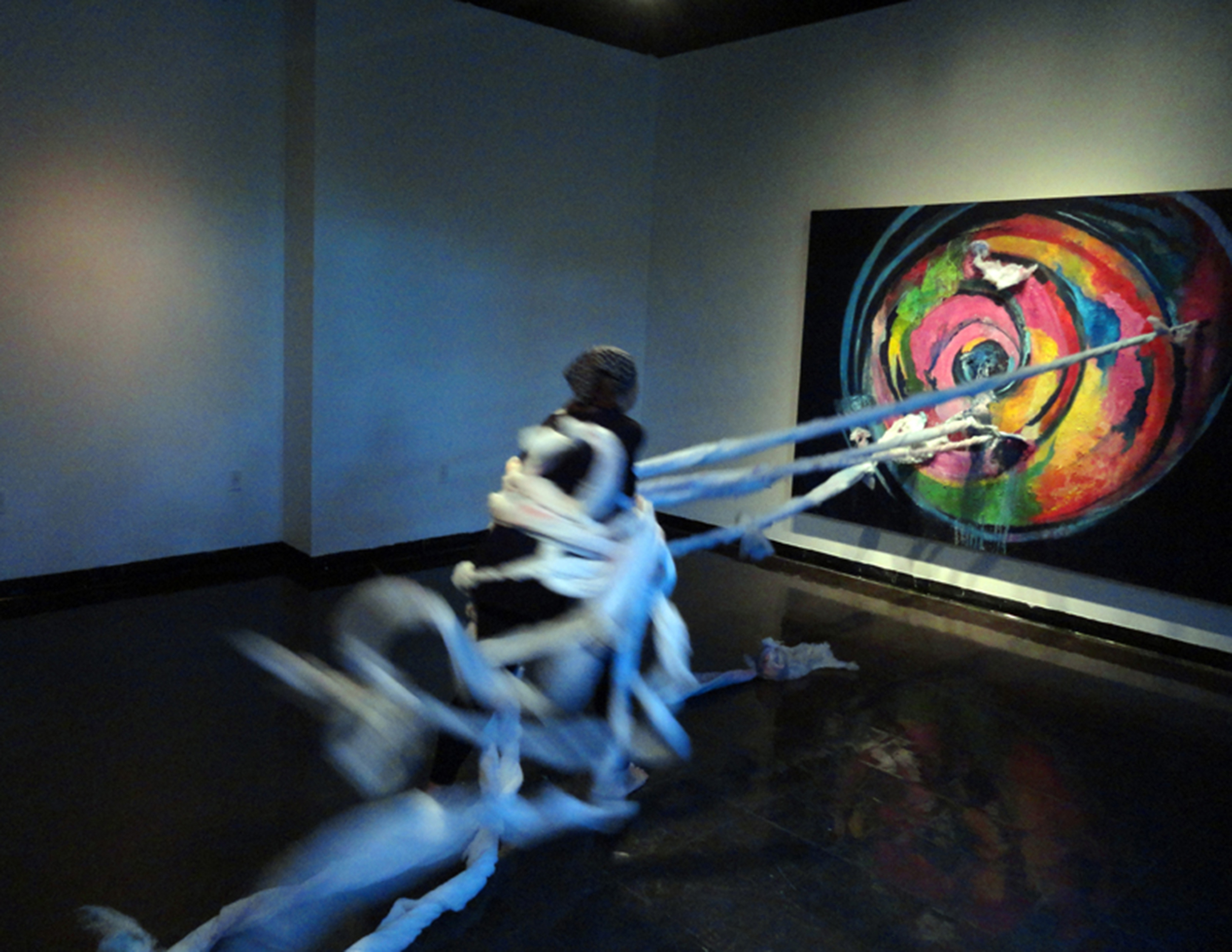 """Anna Maria Tucker, """"Maelstrom Incident,"""" painting, performance and installation (2012)"""
