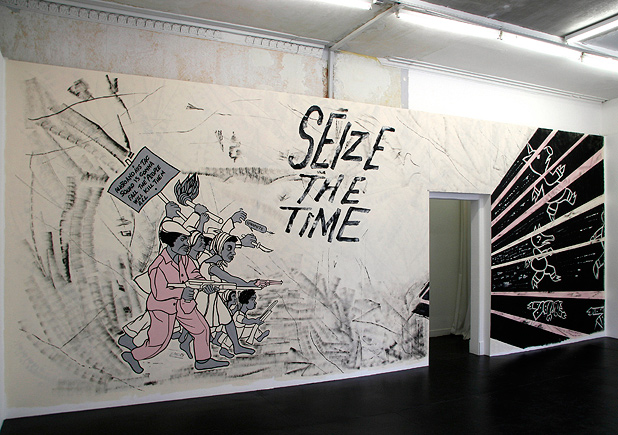 Emory Douglas,  Seize the Time , reproduction of a 1969 poster in an art gallery in Scotland