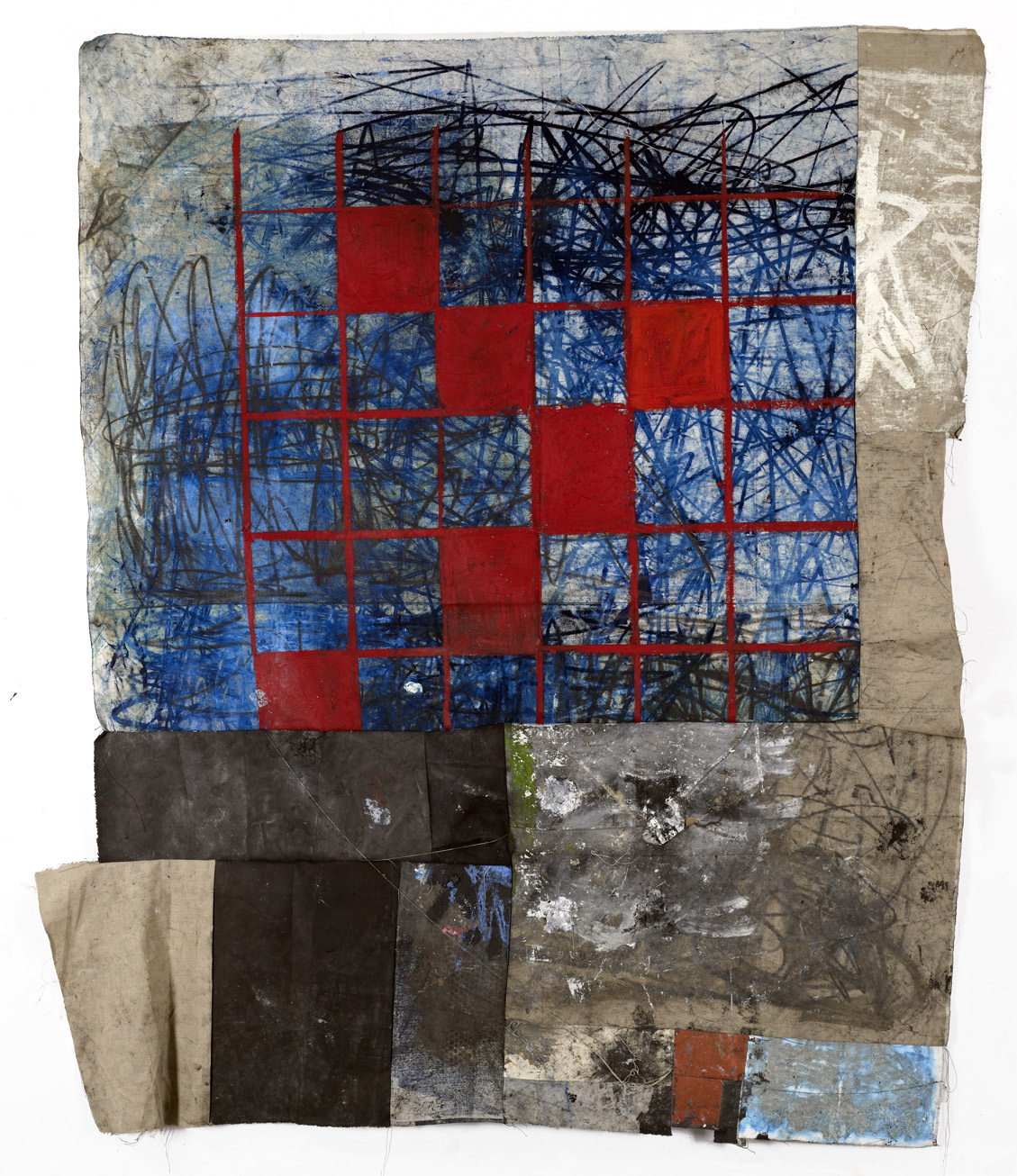 """Oscar Murillo, """"6. 2012-14,"""" (oil, oil stick, dirt, graphite, and thread on linen and canvas)."""