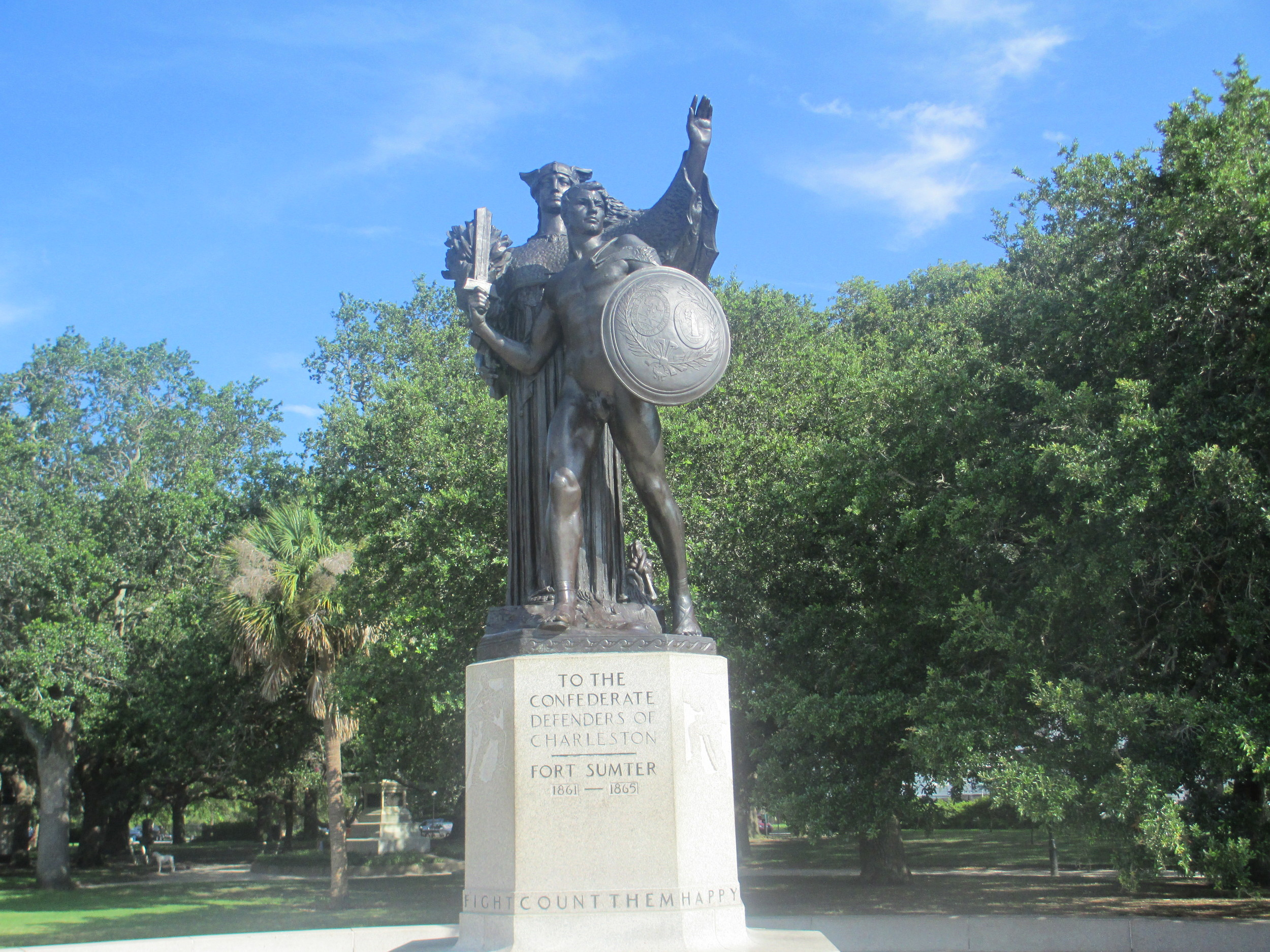 "The Daughters of the Confederacy monument in White Point Garden, Charleston, South Carolina. This is a statue dedicated ""to the Confederate Defenders of Charleston.""  (Credit: Billy Hathon/Wikimedia Commons)"