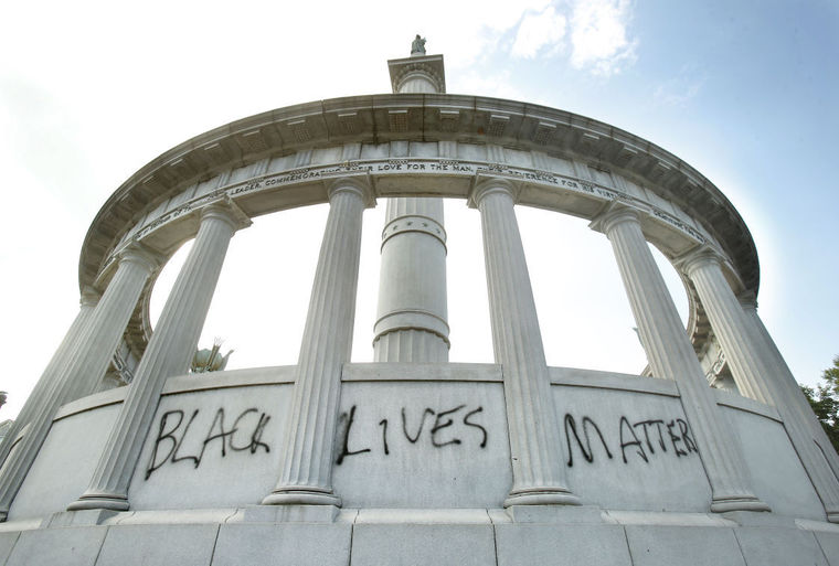 "The ""Black Lives Matter"" graffiti on the monument's west side. Davis was, naturally, a vociferous defender of both the Confederacy and slavery.  (Credit:   Alexa Weld-Edlund/Richmond Times-Dispatch)"
