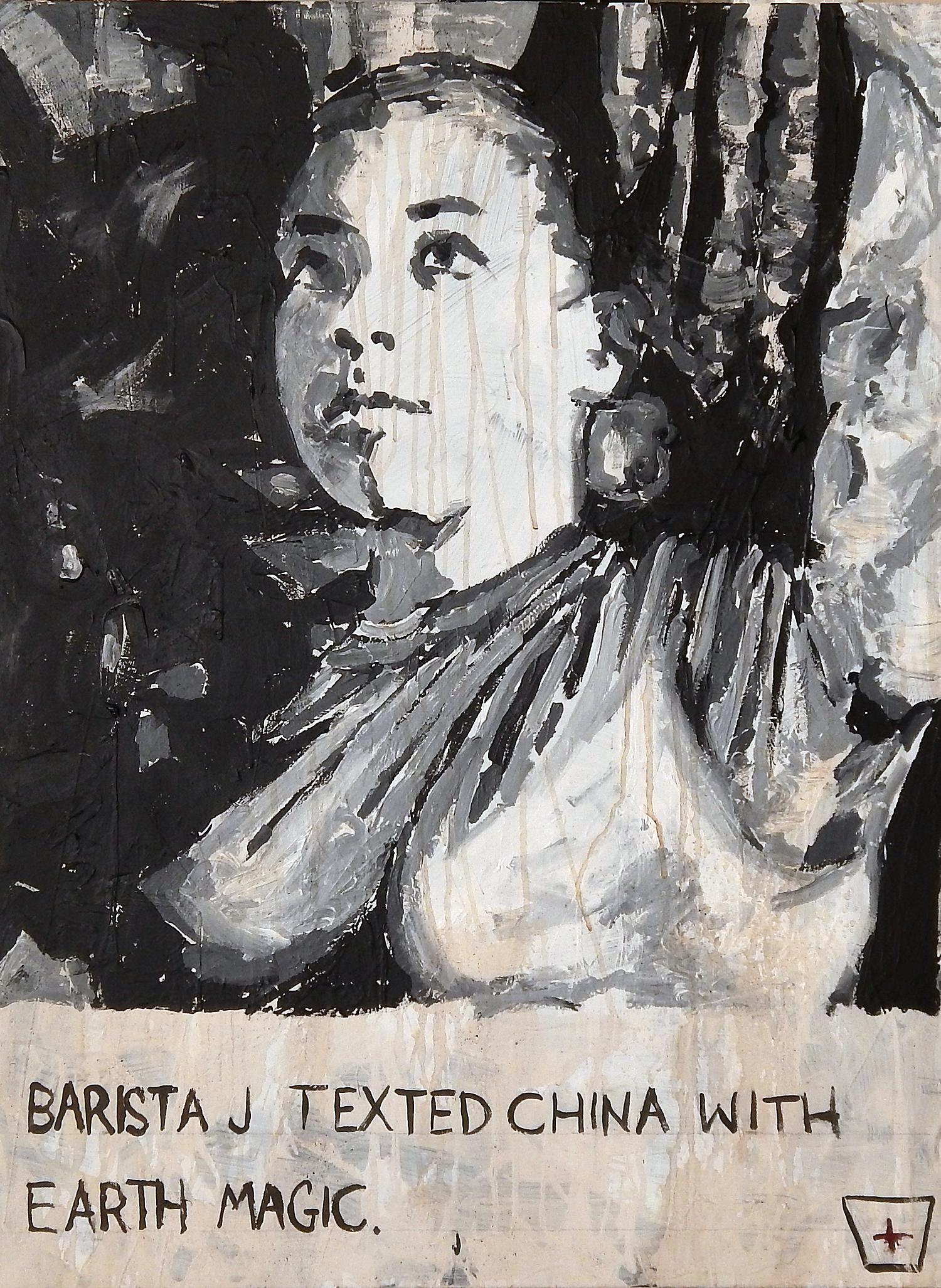 """Texted China With Earth Magic"" acrylic, coffee and mixed media on canvas."