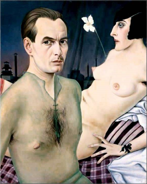 Christian Schad  Self-Portrait With Model , 1927 Oil on canvas 29 7/8 x 24 1/2 inches