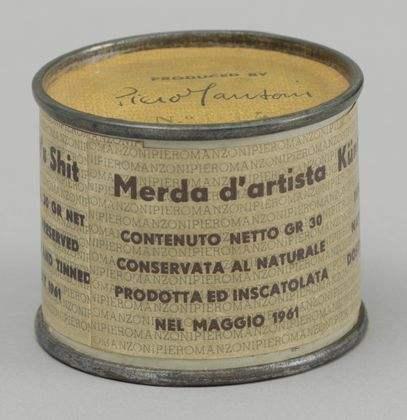 "Piero Manzoni  Artist's Shit No. 014 , 1961 Metal, paper, and ""artist's shit"" 1 7/8 x 2 1/2 inches in diameter"