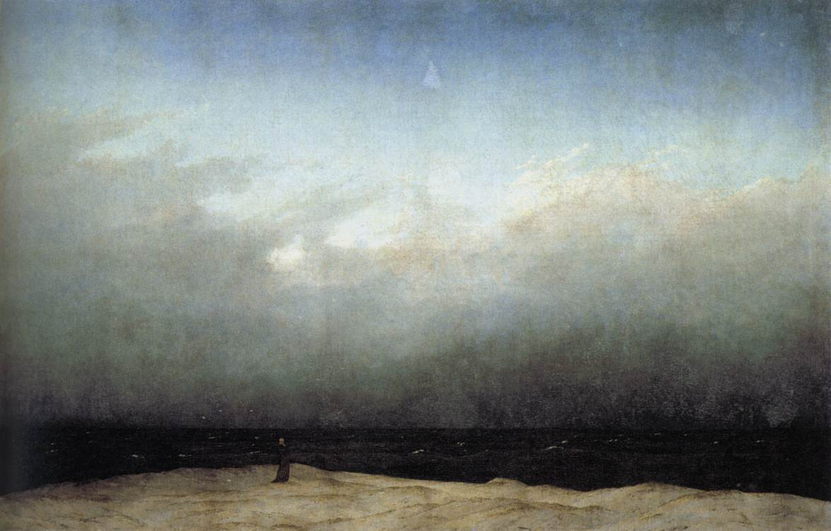 Casper David Friedrich,  Monk by the Sea , 1809. Far from dominating the mysteries of the universe the monk is dwarfed by them