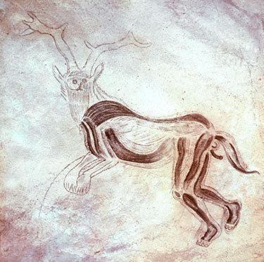"""""""The Sorcerer,"""" cave painting from France, circa 12,000 BCE"""