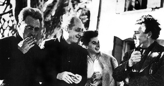 Victor Serge (left), Benjamin Péret,Remedios Varo, and André Breton