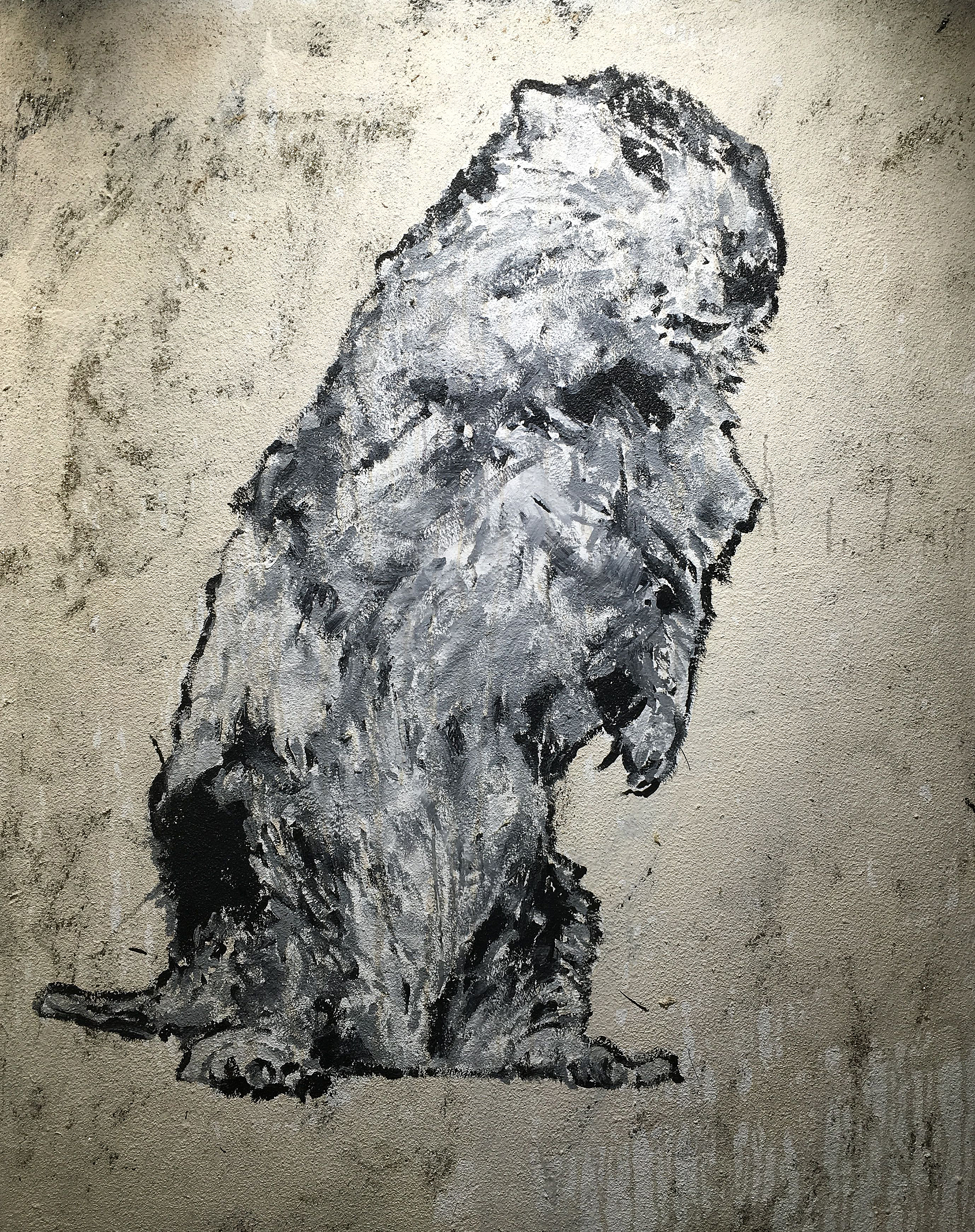 Adam Turl, The Kidnapping of Punxsutawney Phil II, acrylic, glitter and coffee on canvas (Kick the Cat)