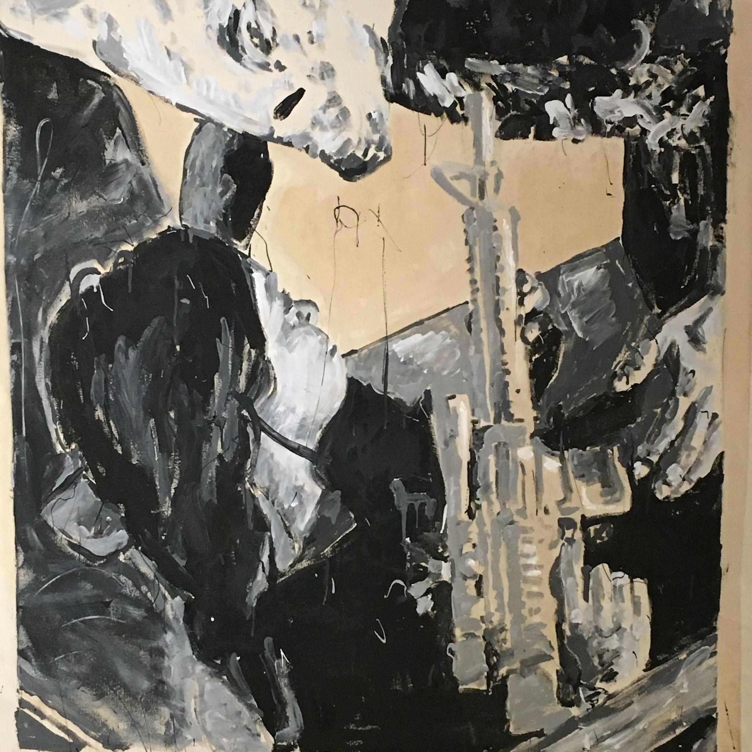 Adam Turl, Saint George of Peoria  acrylic and coffee on canvas (Kick the Cat)