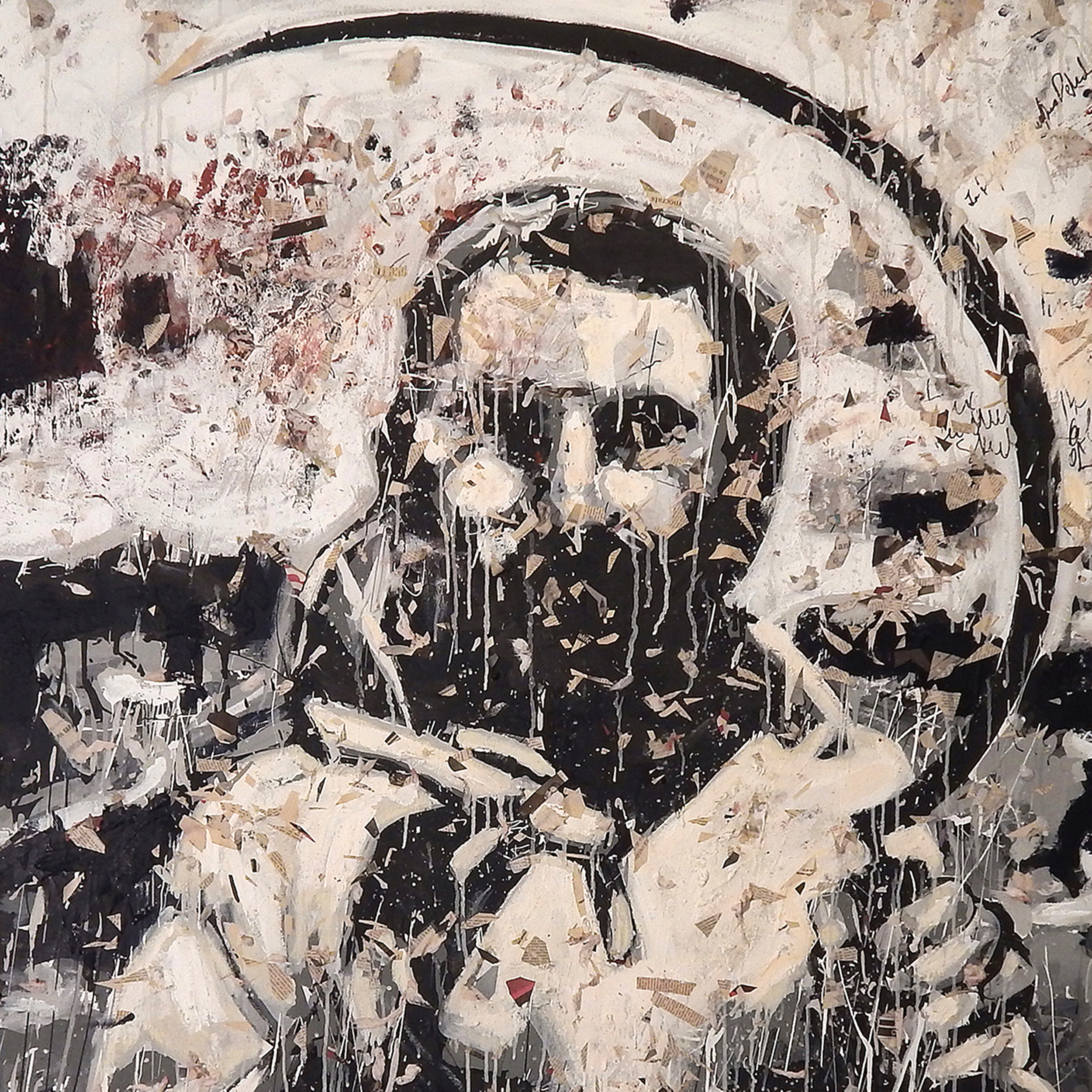 """Adam Turl, """"Portugal 1974"""" (A Painter for Our Time), detail,acrylic, cotton, concrete, newspaper and ash on canvas, 2014"""