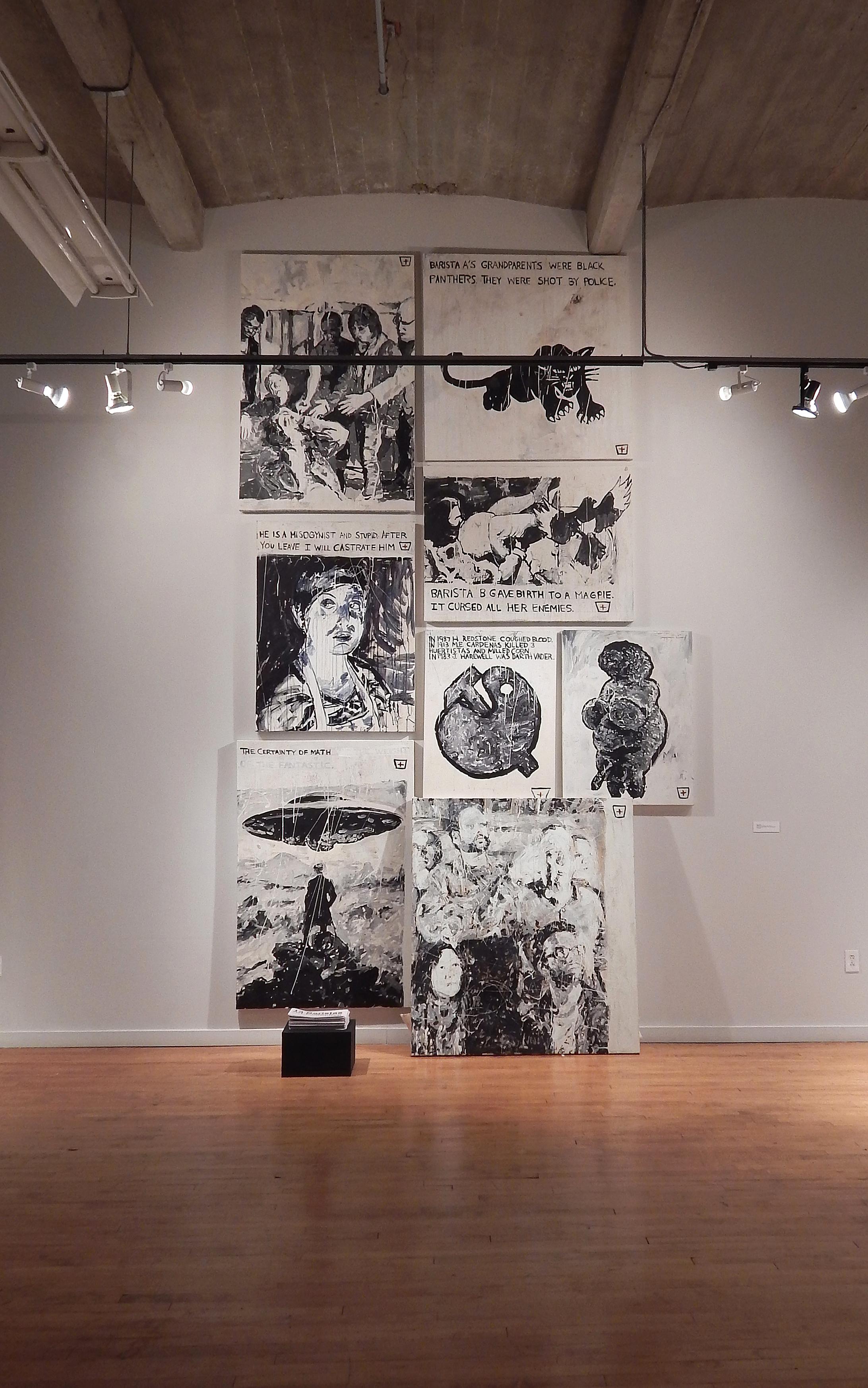 "Adam Turl, ""13 Baristas,"" salon-version, Des Lee Gallery. St. Louis, Missouri, 2015"