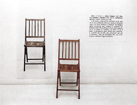 If you ever studied conceptual art in school you saw this picture: Joseph Kosuth's One and Three Chairs (1965)