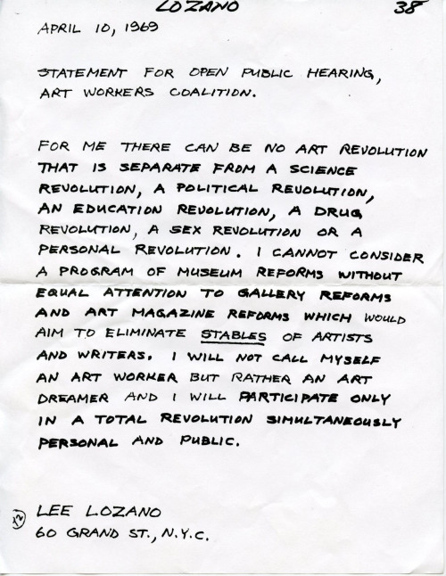 A statement by Lee Lozano, a central figure in 1960s conceptual art and the Art Workers Coalition