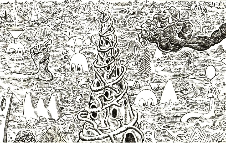 Trenton Doyle Hancock,  Cave Scape #3,  2010, ink on paper, 6 ¼ x 10 in., (James Cohan Gallery, New York)
