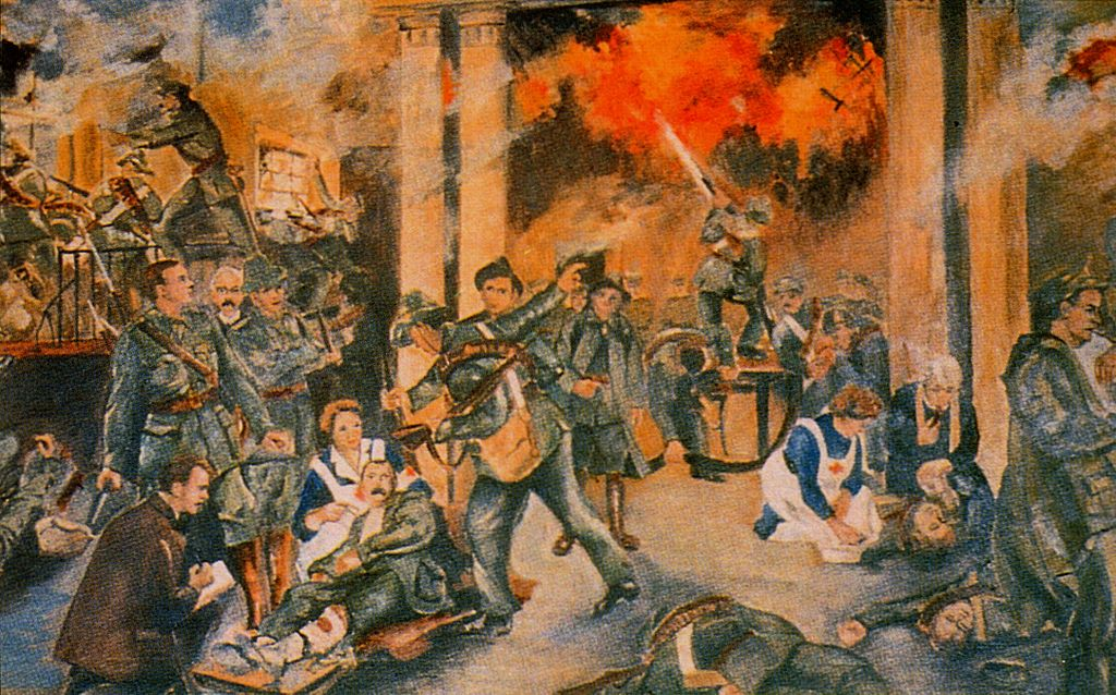 Walter Paget's  Birth of the Irish Republic , depicting the seizure and siege of the General Post Office