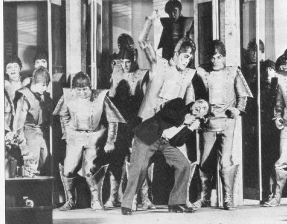 The robot rebellion in a Prague production of  R.U.R.