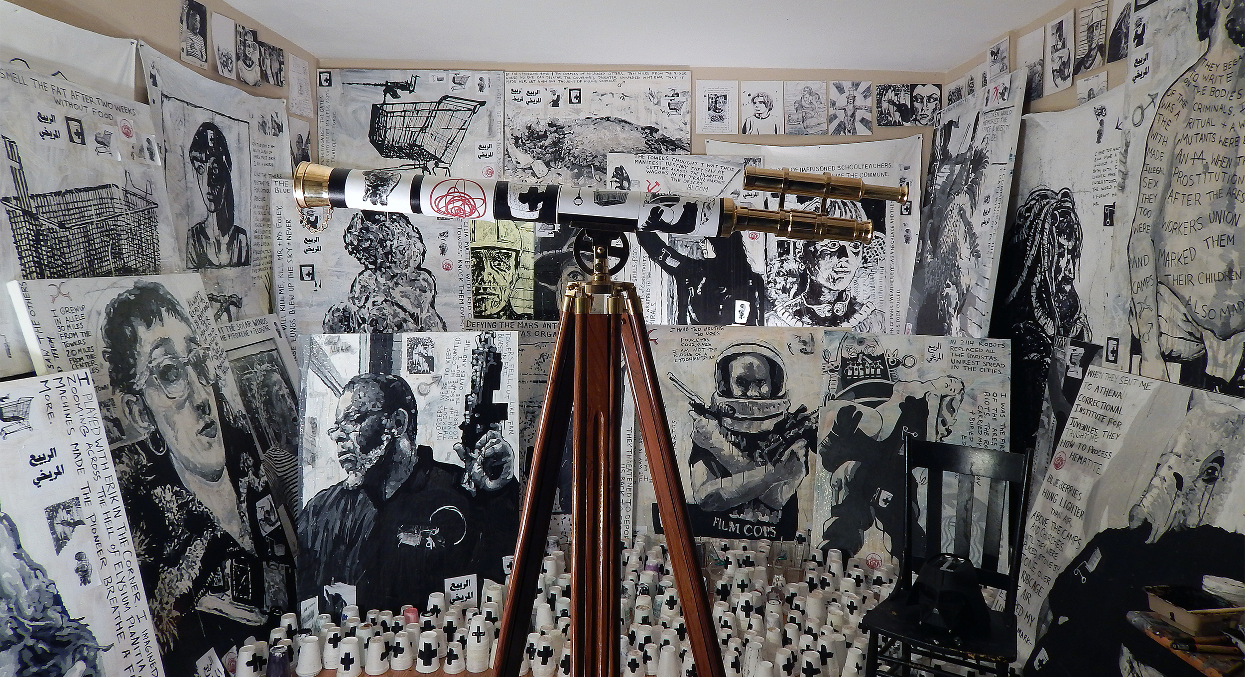 Adam Turl,  Red Mars (Installation Version I)  (2016): Acrylic, coffee, meteorite dust,glitter, stickers, wheat-paste, mixed-media on canvas, with chair, telescope and found objects.
