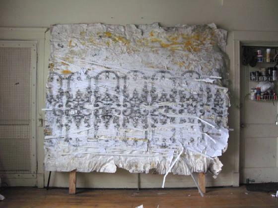 "Polk Street,  Mixed-Media on Paper on Paper, 101""x96"" 2014."