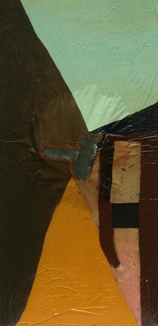 Qa , 36''x 53'' x 12'', oil on wood.