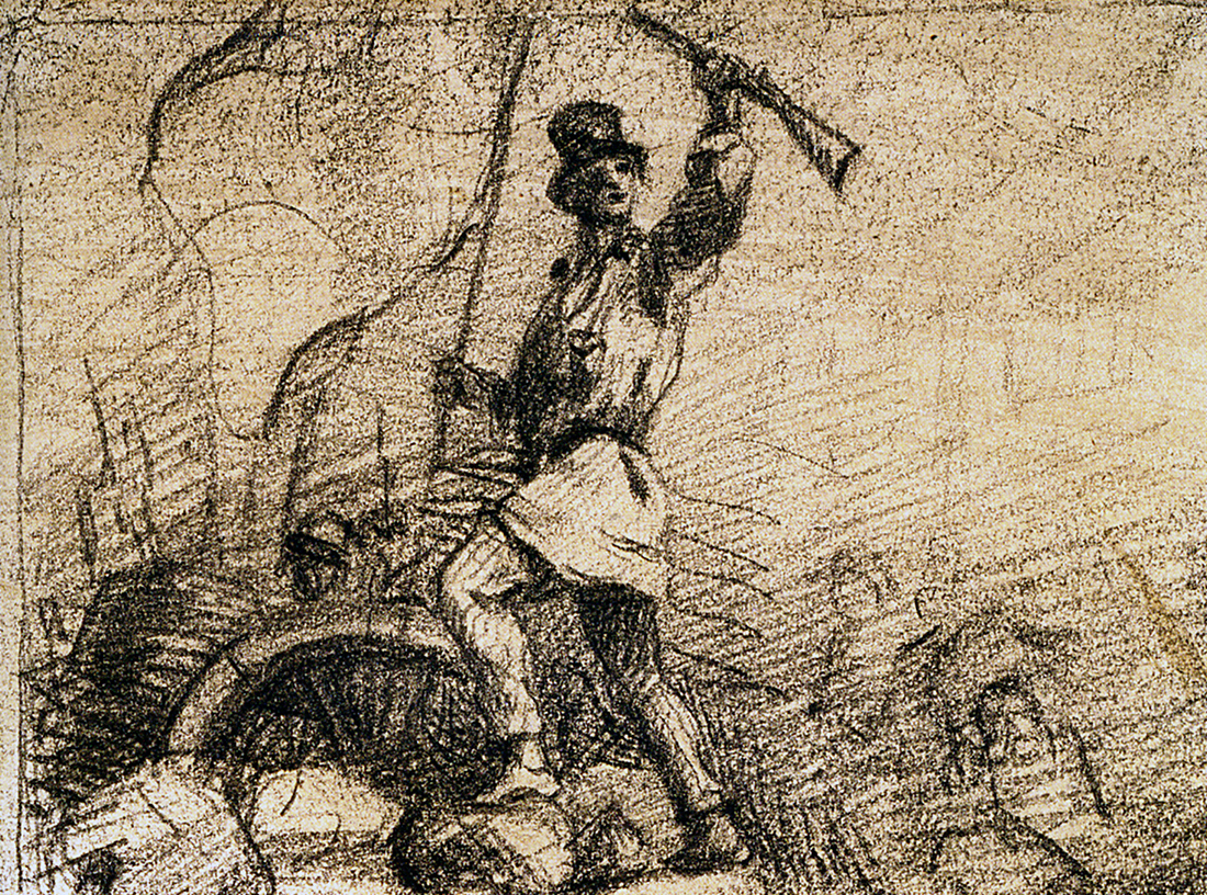 Gustave Courbet,  Man in a Coat Standing on a Barricade  (France, 1848)