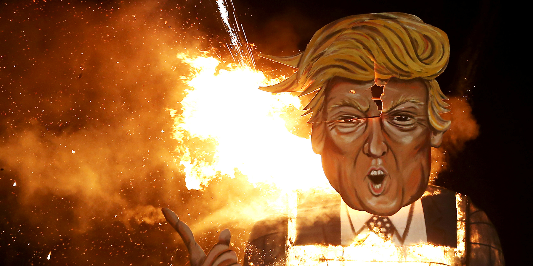 Trump effigy sent on fire during a Guy Fawkes celebration in the UK