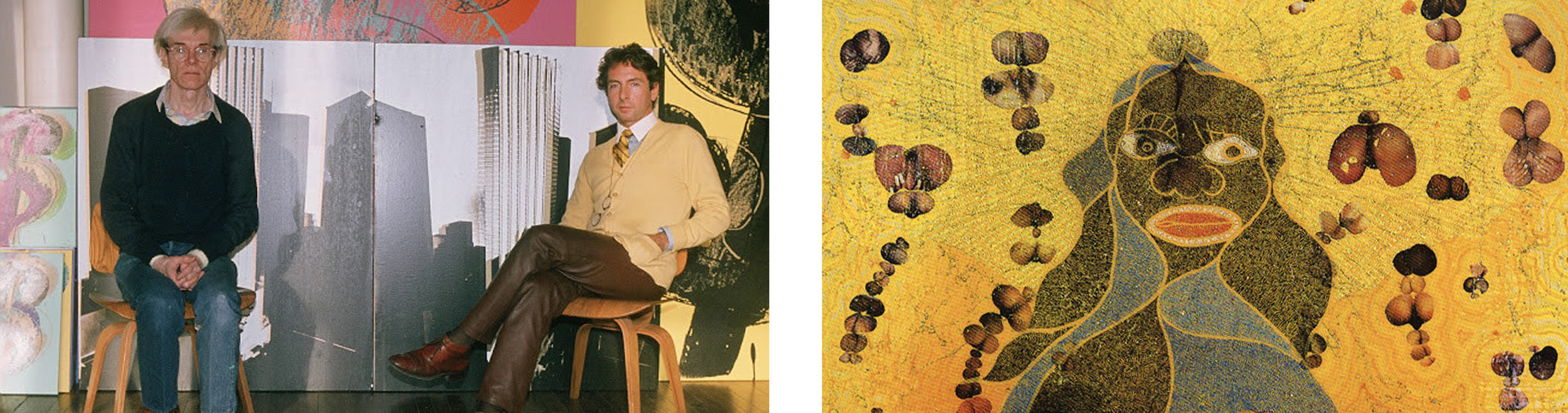 Andy Warhol's paintings for Trump Tower and Chris Ofili's The Holy Virgin Mary (detail)