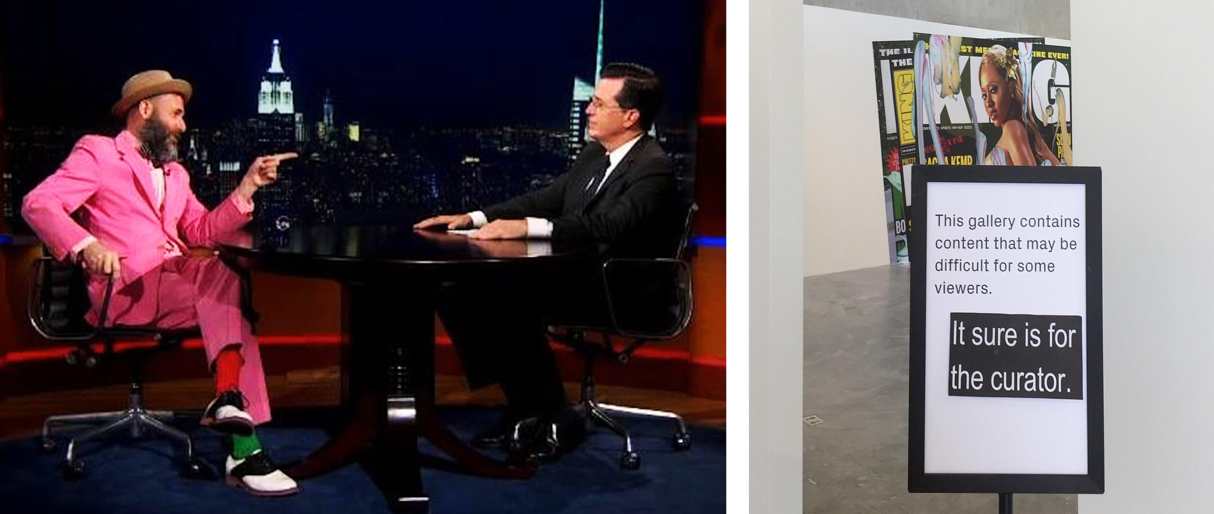 """Kenneth Goldsmith on """"The Colbert Report"""" and an altered exhibition sign at the St. Louis Contemporary Art Museum's Kelley Walker exhibition (photo by Richard Reilly)"""