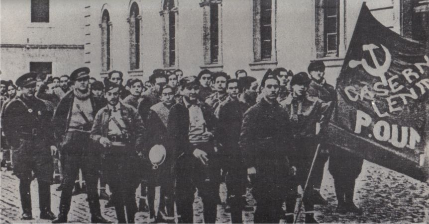 George Orwell (in the back) with the Partido Obrero de Unification Marxista during the Spanish Civil War