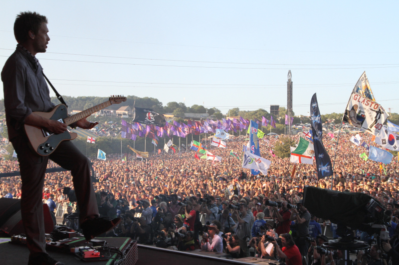 Dave Randall performing at Glastonbury.