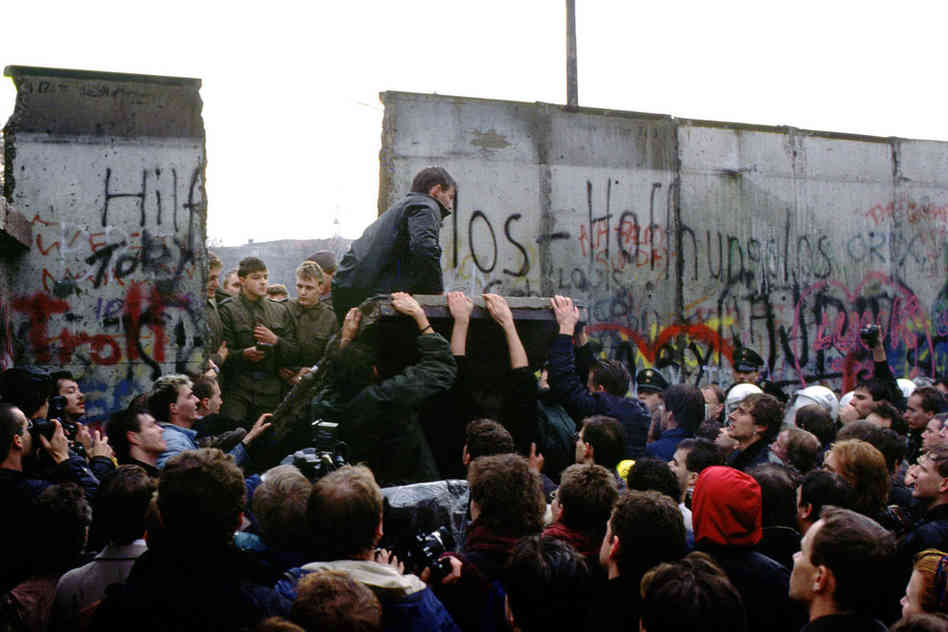 The fall of the Berlin Wall; decisive turning point in the end of Soviet Communism.