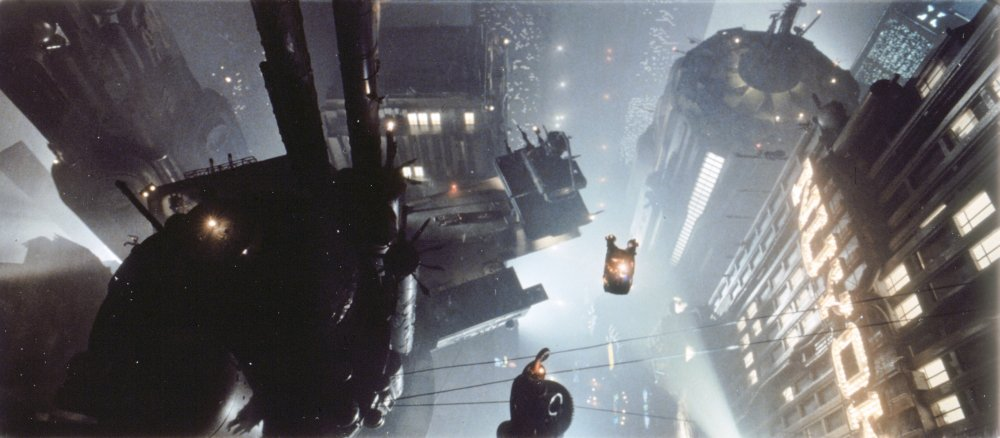 The cityscape of  Blade Runner.
