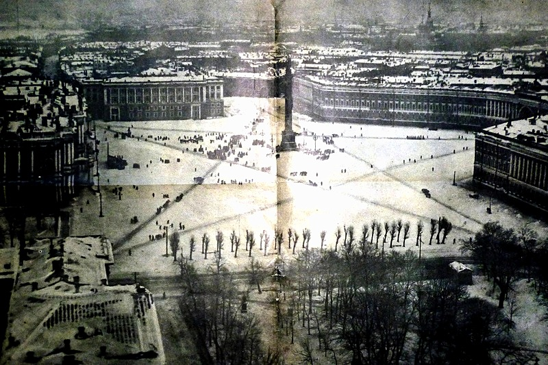 A large start trampled through the snow in Petrograd's Palace Square.