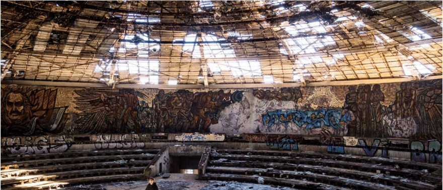 The ruined Buzludzha.