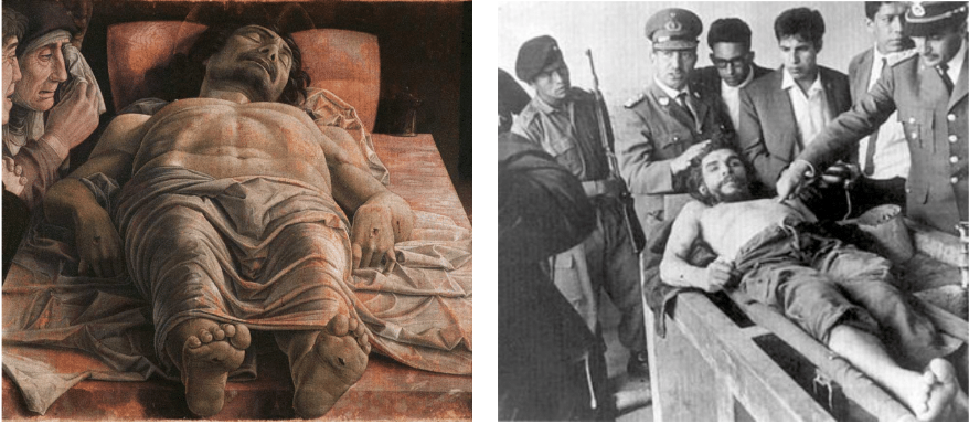 Mantegna, Lamentation of Christ  (1480) and Che Guevara after his murder by the CIA in Bolivia (1967).