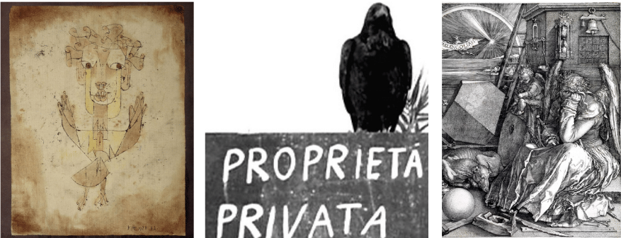 Paul Klee's Angelus Novus (1920),the left-wing intellectual raven from Pasolini's Hawks and Sparrows (1966), Albrecht Durer's Melancholia (1514).