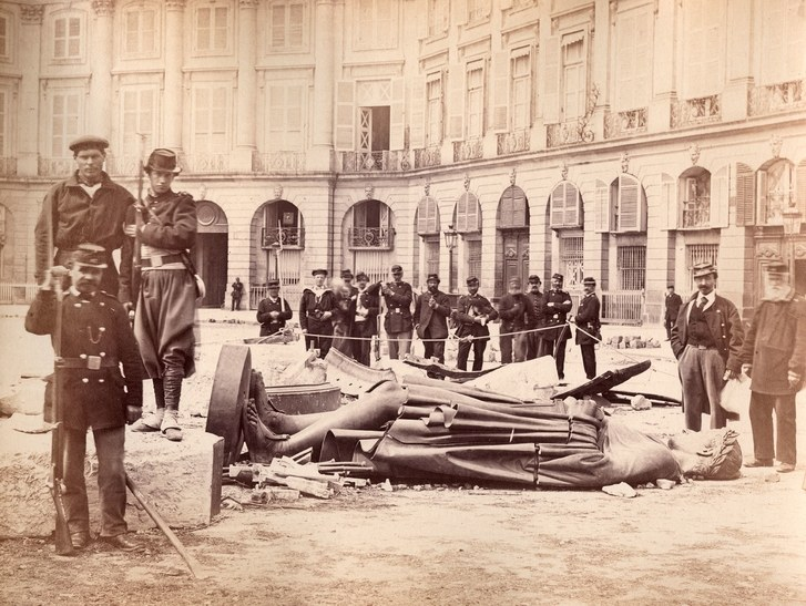 The toppling of the Vendome Column.