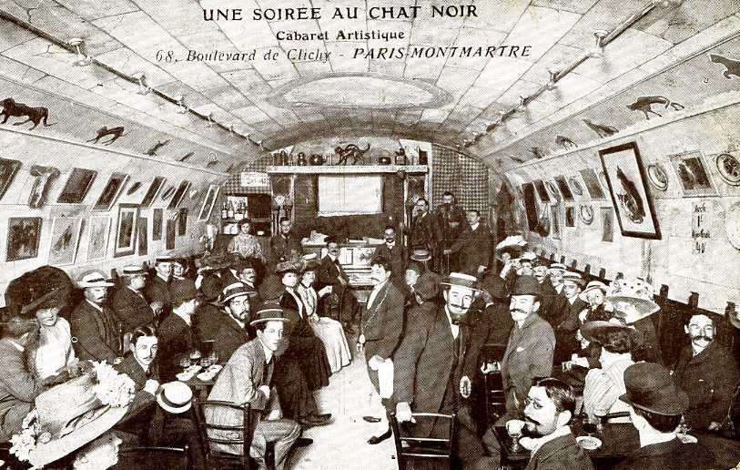 Scene from Le Chat Noir, a hub of 19th century Parisian bohemia.