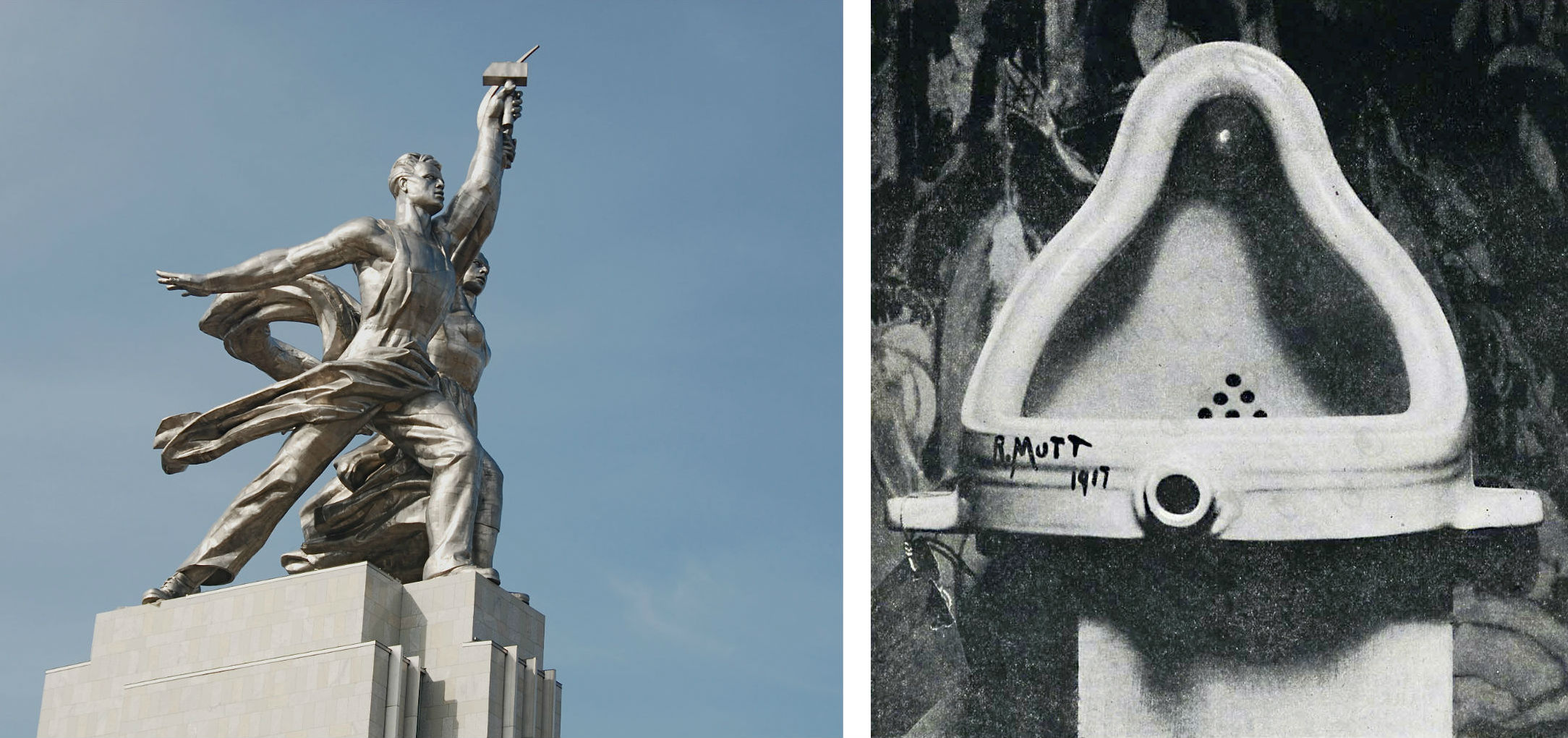 Worker and Kolkhoz Woman  (left) and Duchamp's  Fountain  (right).