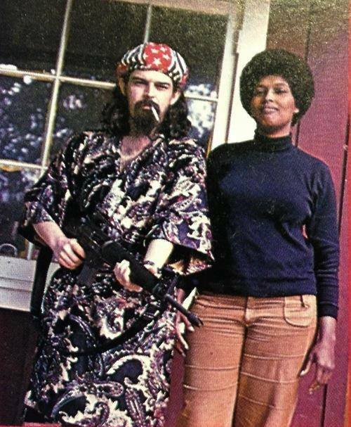 Ron (Pigpen) McKernan, original organist and vocalist for the Grateful Dead, with his partner, Veronica, a member of the Black Panther Party. Both the Dead and the Panthers were targets of Wolfe's snark.