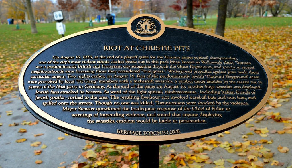 """Plaque commemorating the """"Riot at the Christie Pits"""""""
