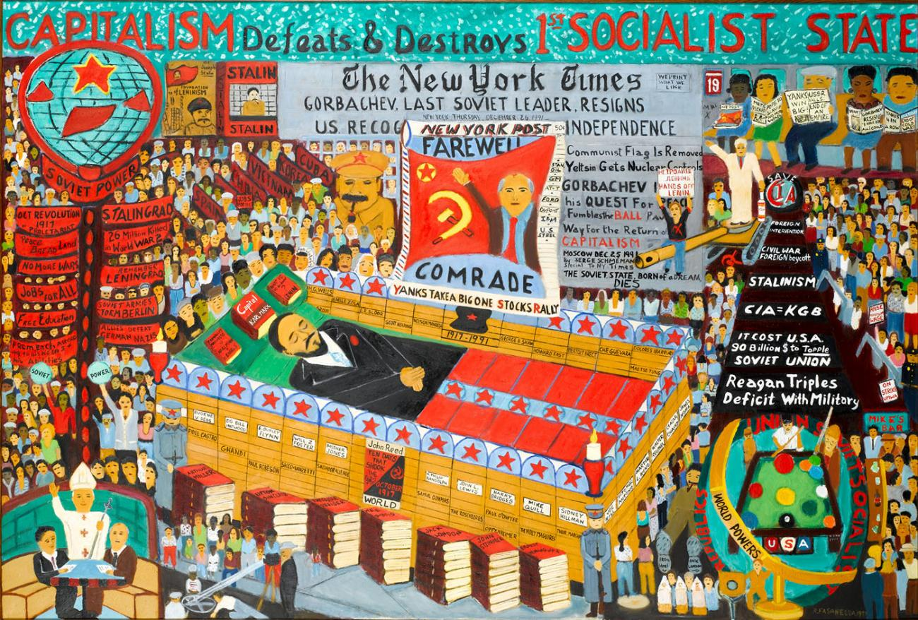 Ralph Fasanella,  Farewell Comrade/End of the Cold War , oil on canvas (1993-1999)