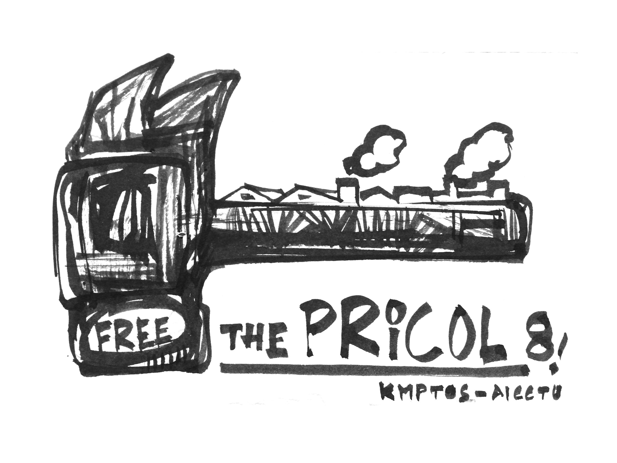 """Free the PRICOL 8,"" ink on post-cards."